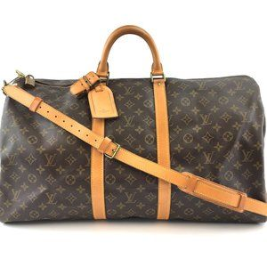 Keepall #44134 with Strap 55 Bandouliere Gym Tote Brown Monogram Canvas Weekend